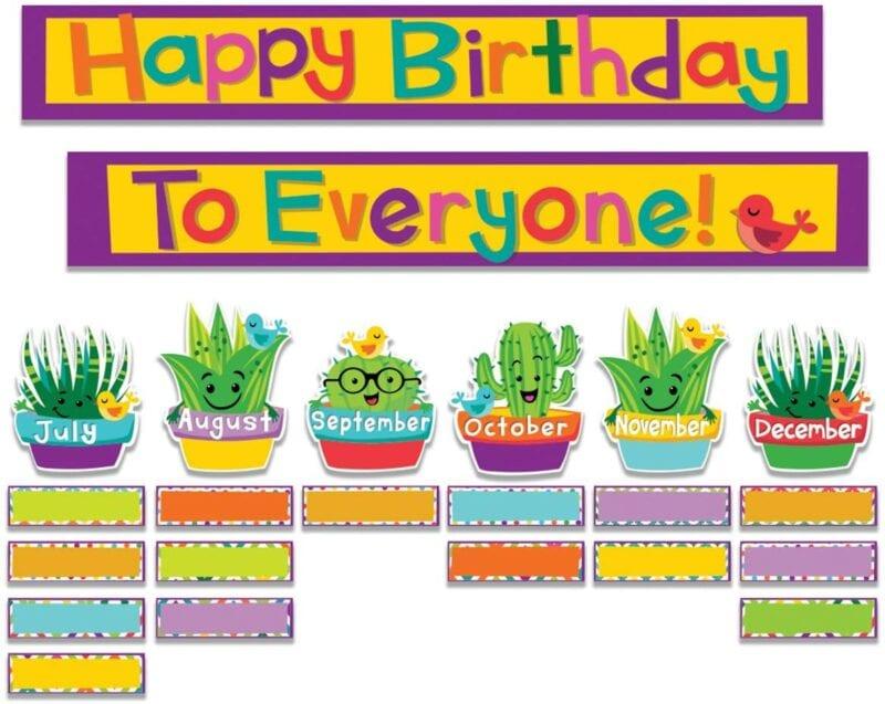 Classroom birthday bulletin board display with cactus theme