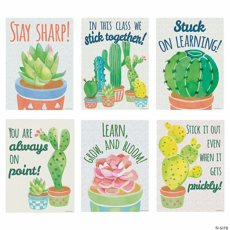Cactus-themed motivational wall posters for classroom