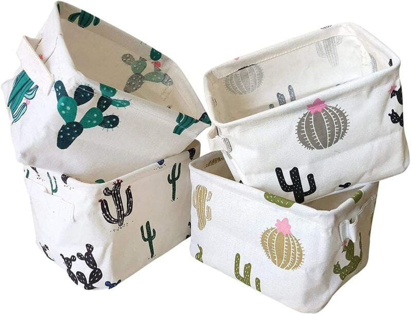 Cactus patterned classroom storage bins for books