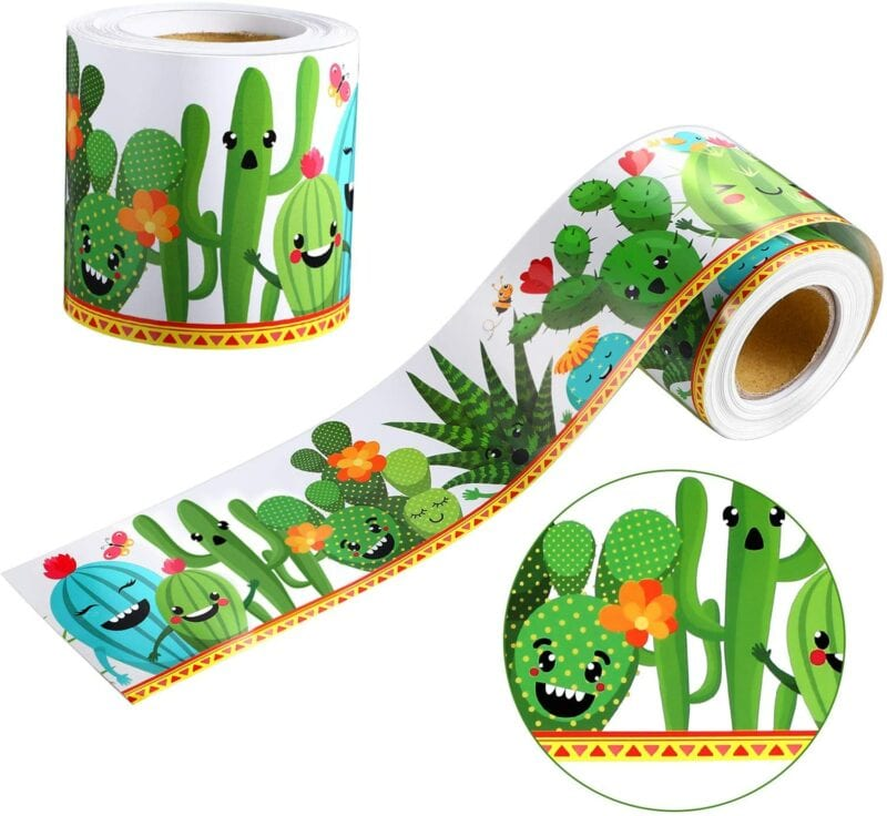 Removable cactus classroom borders for wall decor