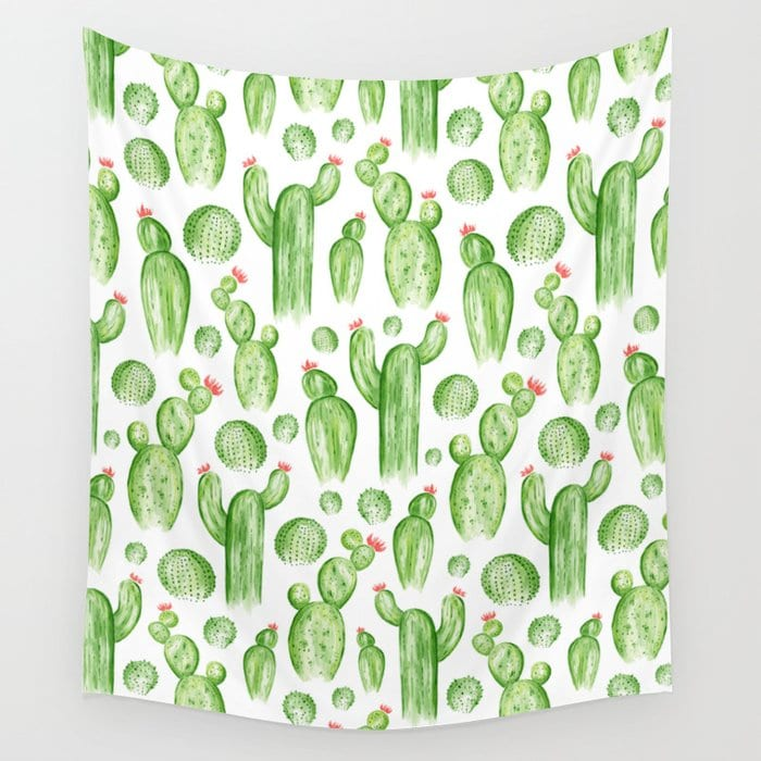 Classroom beige and green cactus patterned wall tapestry