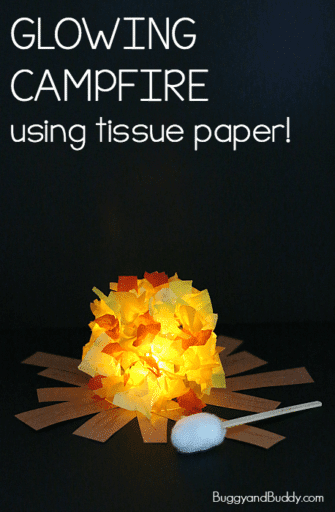 Pretend campfire with electric tea lights and tissue paper