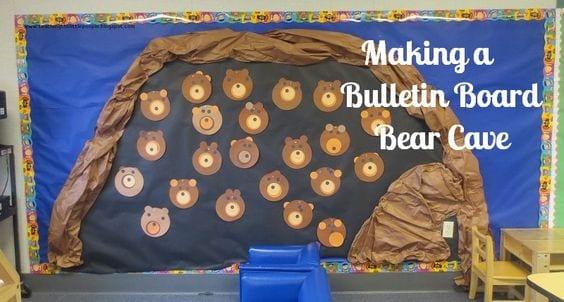 Bear cave themed classroom bulletin board