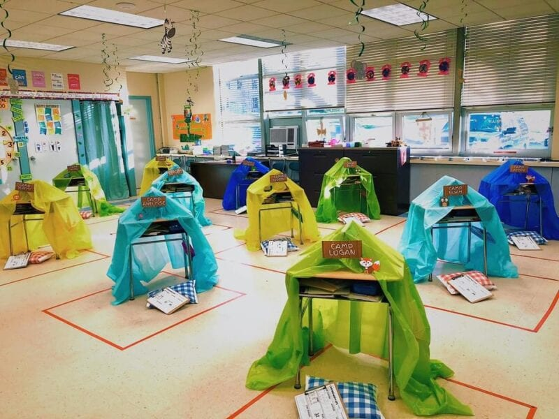 Camping tent reading pods in the classroom