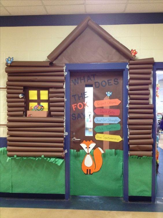 Log cabin classroom camping theme decor