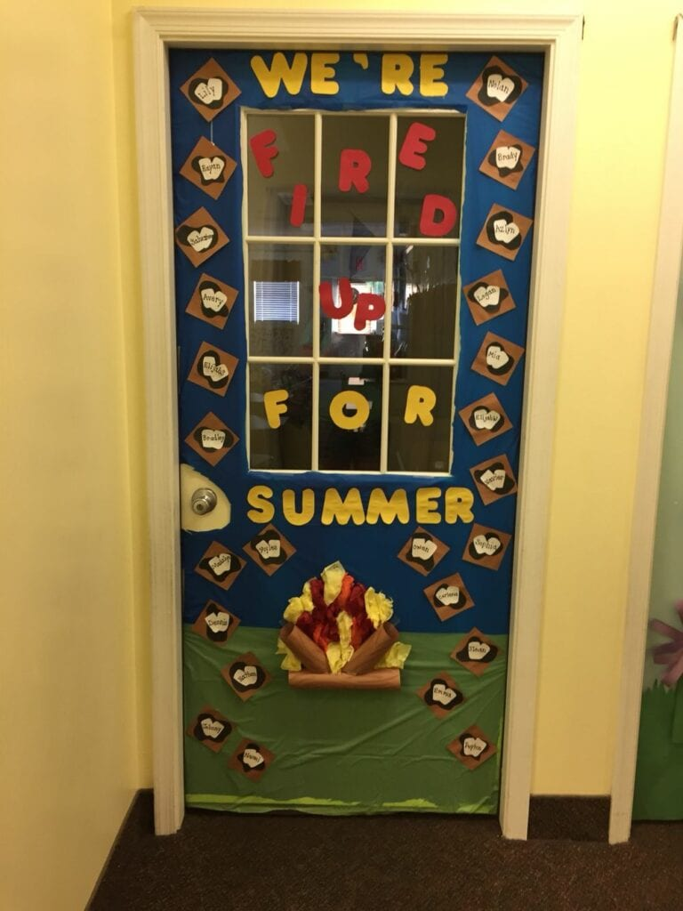 S'mores door decoration ideas for classroom camping theme