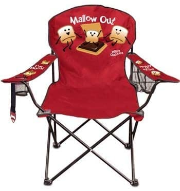 Red camping chair with s'mores decoration