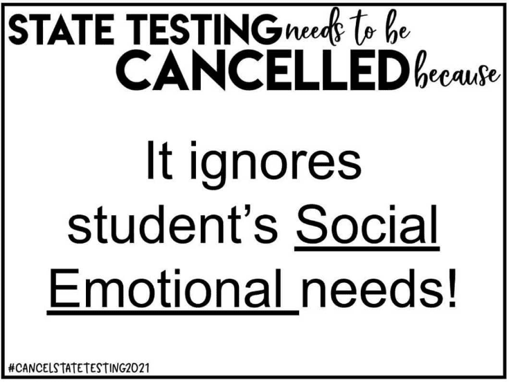 Sign promoting student social emotional needs over standardized testing