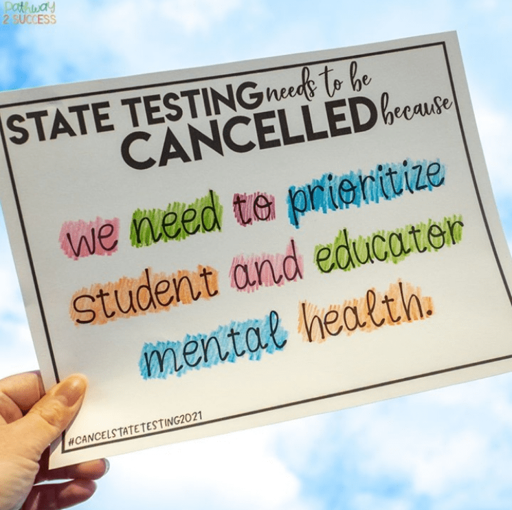 Sign prioritizing teacher and student mental health over testing