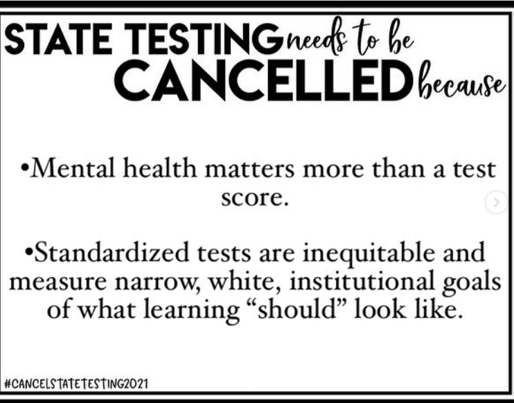Sign indicating the importance of mental health over state testing