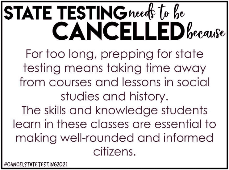 Sign sharing reasons for canceling state tests