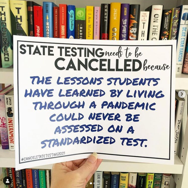 Teacher sign about state tests during pandemic