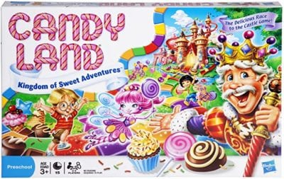 Box for Candyland board game with colorful candies and characters and candy cane striped writing