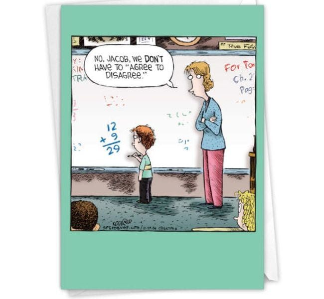 """Thank you card showing student writing incorrect math problem and teacher saying """"No, Jacob, we don't have to agree to disagree."""" (Cards for Teachers)"""