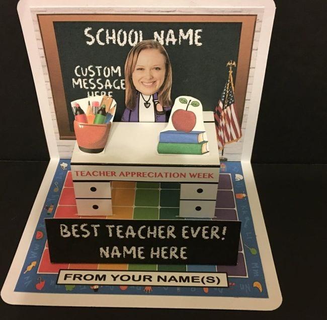 Pop up teacher card with photo of teacher as a bobblehead