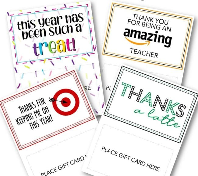 Gift card holders themed for various stores like Amazon and Target (Cards for Teachers)