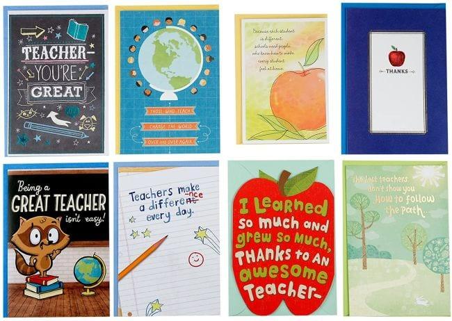 Assortment of appreciation cards for teachers