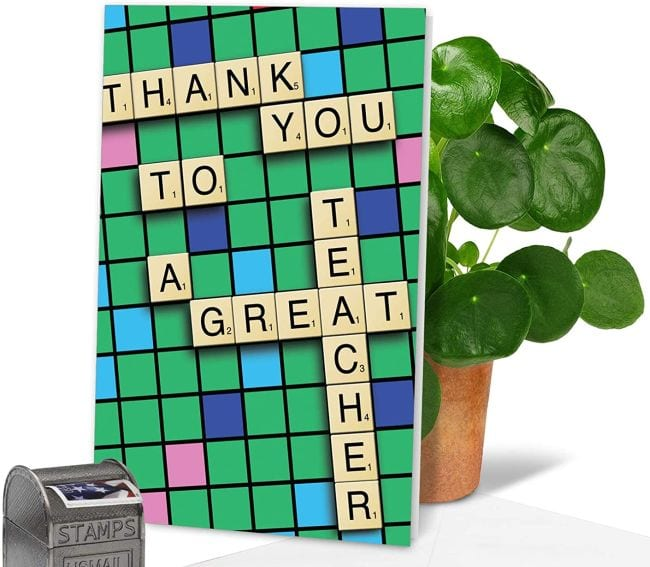 Greeting card picturing a Scrabble board saying Thank You To A Great Teacher (Cards for Teachers)