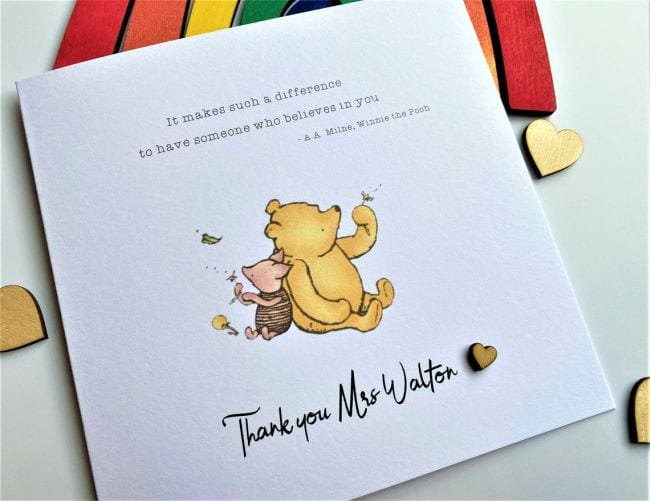 Greeting card with drawing of Winnie-the-Pooh and Piglet; text reads It makes such a difference to have someone who believes in you.
