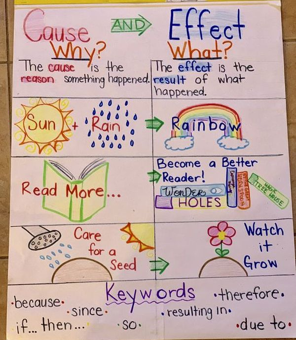 Anchor chart showing examples of cause and effect, with pictures