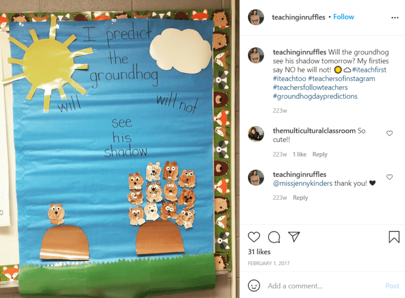 Still of celebrate groundhog day with a cute prediction chart from Instagram