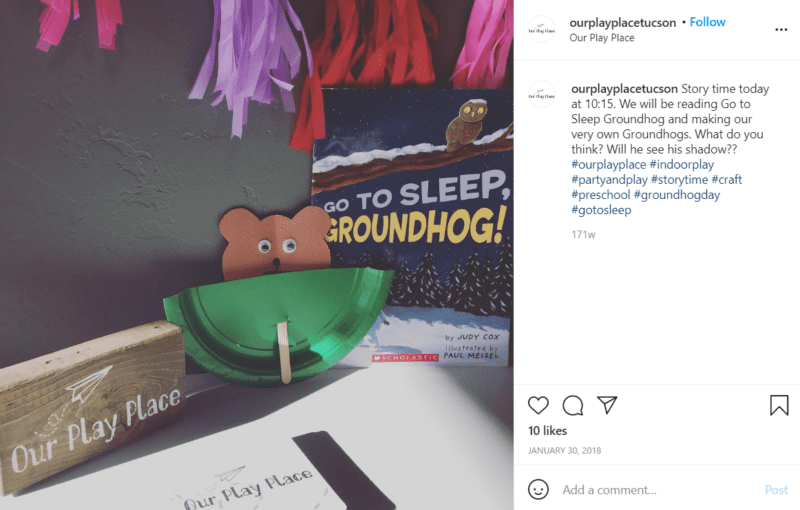 Still of celebrate groundhog day with a peeking groundhog puppet from Instagram