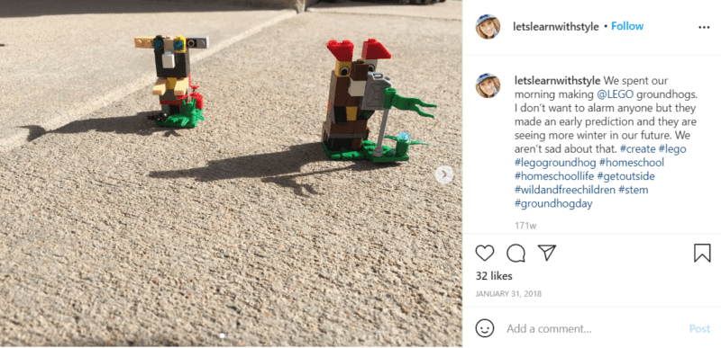 Still of celebrate groundhog day with lego groundhogs from Instagram