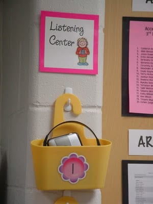 Hanging yellow shower caddy on classroom wall.