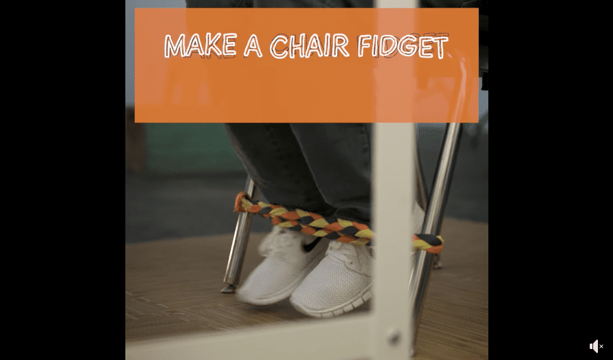 A chair fidget made out of old t-shirts for classroom chairs