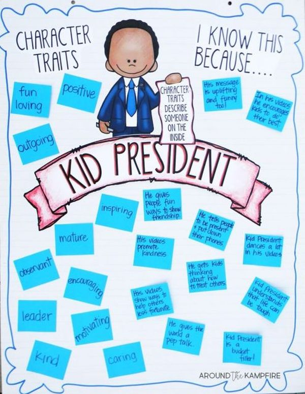 Kid President character trait anchor chart including traits and reasons (Character Traits Anchor Charts)