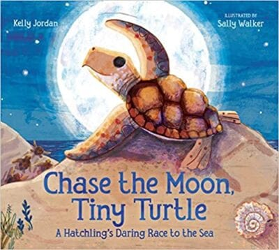 Book cover for Chase the Moon, Tiny Turtle: A Hatchling's Daring Race to the Sea as an example of Earth Day books for kids