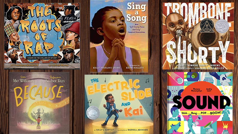 Collage of 6 children's books about music