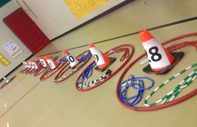 Hula hoops laid on the floor with jump ropes and numbered cones in each (Circulatory System Activities)