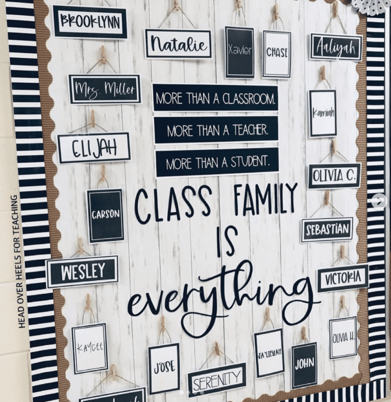 Class family is everything back to school bulletin board
