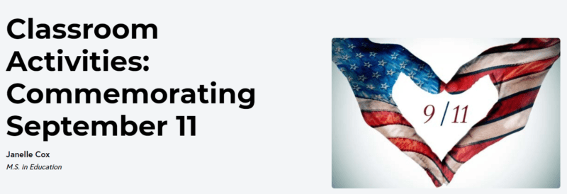 Classroom activities for teaching kids about 9/11