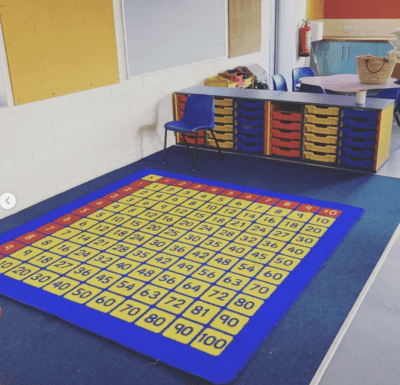 Classroom area with numbers rug