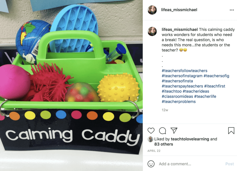 Classroom calming caddy with students toys and calming items