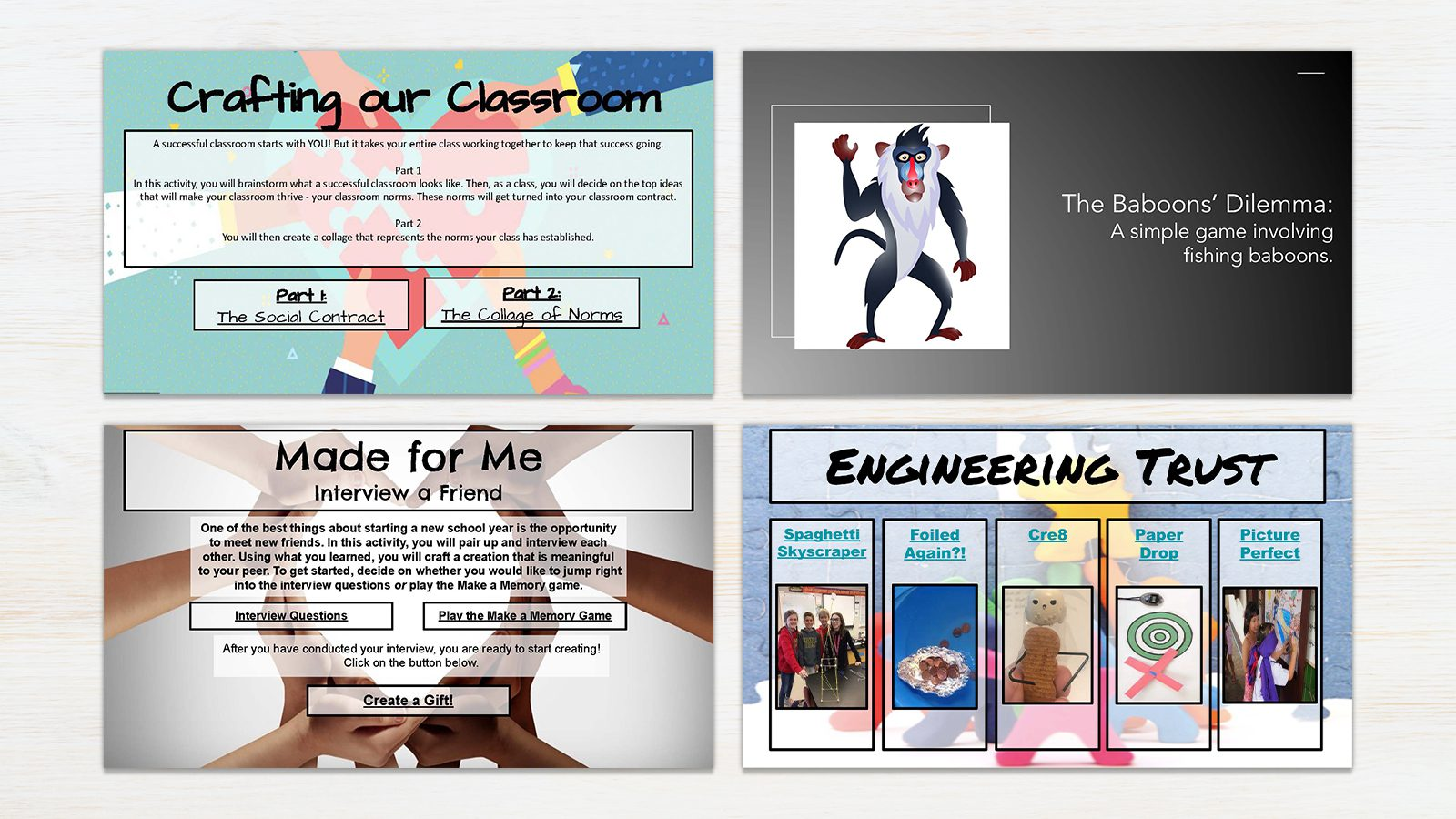 Screenshots from the 4 mini-lessons from the Classroom Community Timely Topic