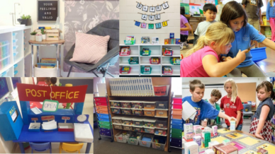 Collage of classroom learning spaces