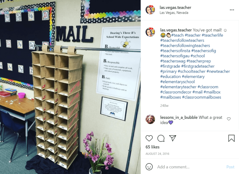 Vertical shoe organizers being used as a classroom student mailbox