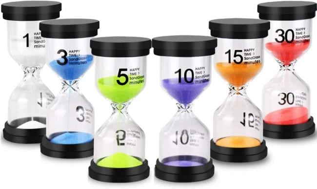 Six hourglass timers for 1, 3, 5, 10, 15, and 30 minutes (Classroom Timers)