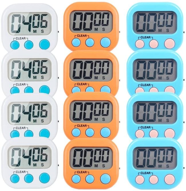 12 digital timers in white, orange, and blue