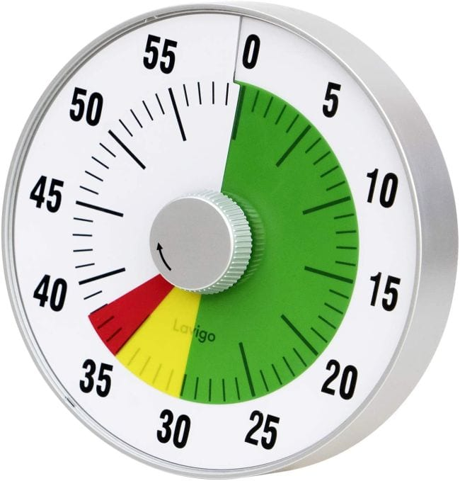 Large round timer from 0 through 59 minutes, with green, yellow, and red indicators (Classroom Timers)