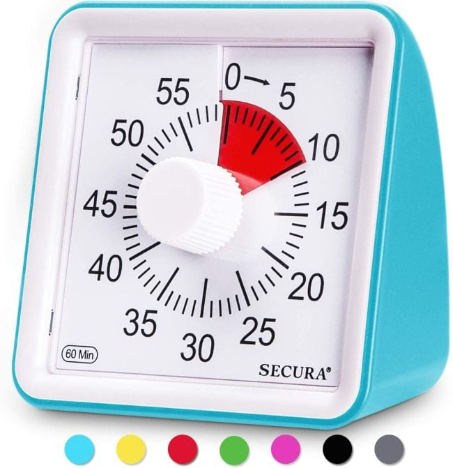 Boxy 60-minute timer with turquoise casing, with red indicator area