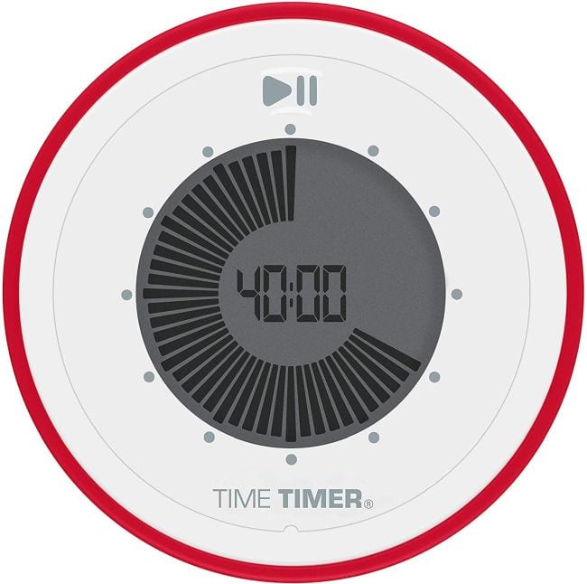 Round digital timer with red rim set to 40:00