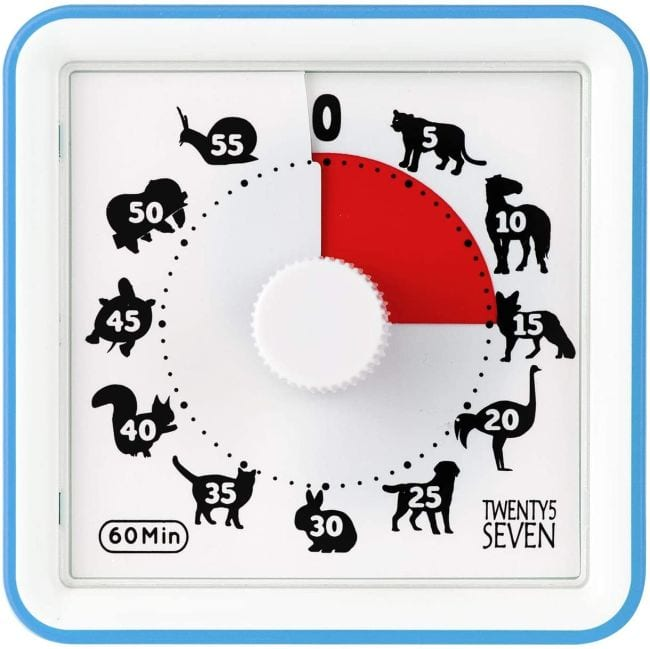 Visual timer with different animal at each 5 minute mark with red indicator area (Classroom Timers)
