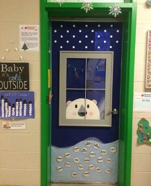16. Peeking Polar Bear & Amazing Classroom Doors for Winter and the Holidays