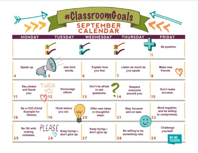 Classroom Goals Calendar