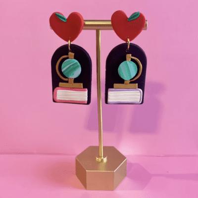 Clay globe and book earrings