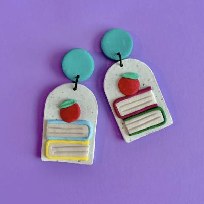 Clay teacher apple and book earrings